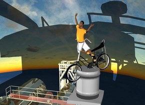 a  70% dim gainsboro water tower.a 3000 inch tall shiny black bicycle is 7500 inch above the water tower. the bicycle is facing southwest.a 3500 inch tall boy is -2200 inch above the bicycle.the boy is facing southwest.a 10000 inch tall shiny building is left of the water tower.ambient light is gray.the bicycle leans 10 degrees to the front.