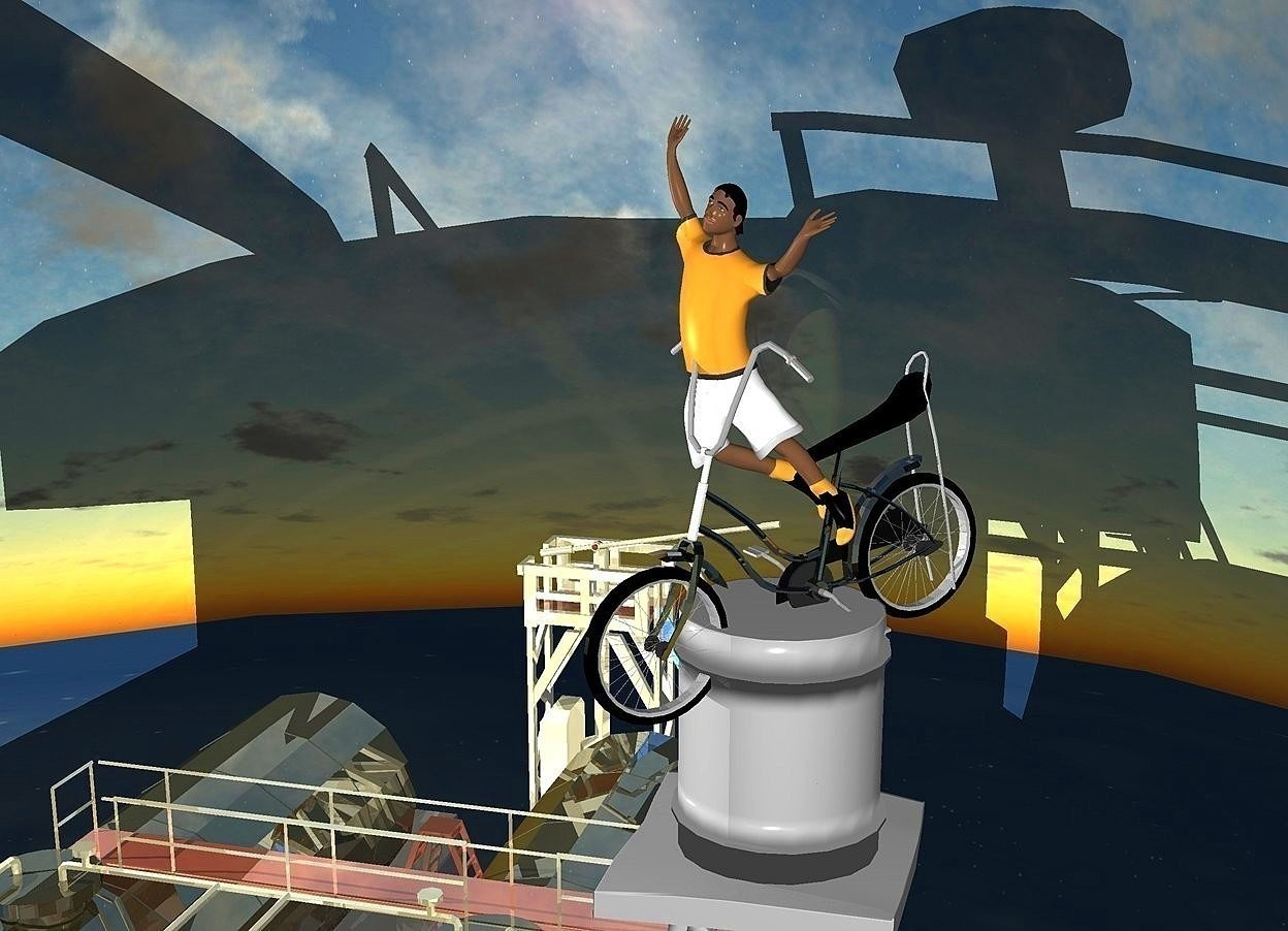 Input text: a  70% dim gainsboro water tower.a 3000 inch tall shiny black bicycle is 7500 inch above the water tower. the bicycle is facing southwest.a 3500 inch tall boy is -2200 inch above the bicycle.the boy is facing southwest.a 10000 inch tall shiny building is left of the water tower.ambient light is gray.the bicycle leans 10 degrees to the front.