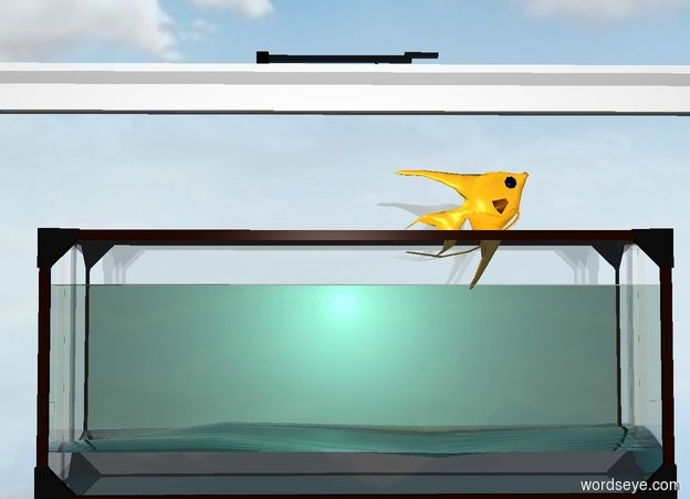 Input text: a  aquarium. its sand is clear white. ground is invisible. a aquamarine light is -1 foot above the aquarium. a dull fish is -.5 foot above and -1.9 foot right of the aquarium. it faces right. it leans 35 degrees to the back. a very big window is behind the aquarium.