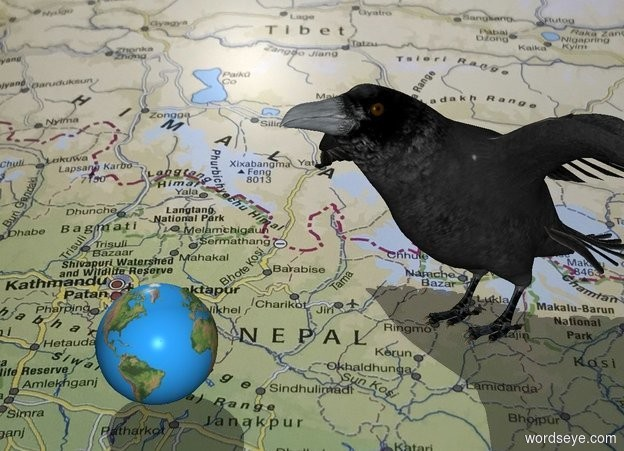 Input text: The  map  backdrop. The very large raven is 8 inches  behind the small globe.