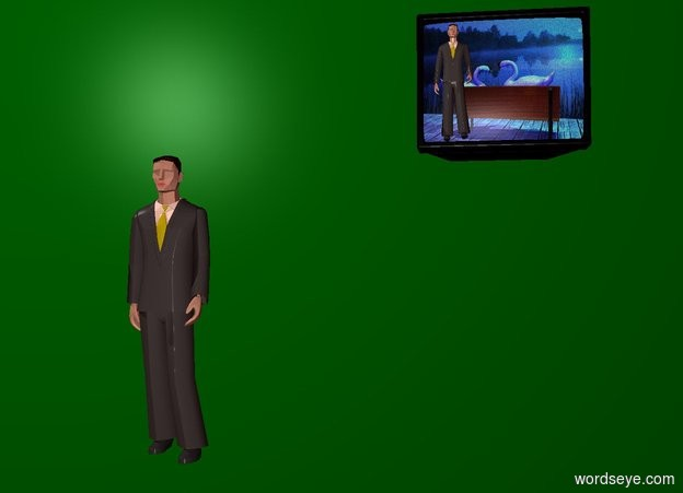 Input text: Green backdrop. A man. A television is 4 feet right of and -2 inch above the man. The screen of the television is [green]. A 2 feet high man is -2 inch in front of and -1 foot left of and -2.3 feet above the television. Ambient light is brown.