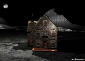 It is night. The big house is on the ground. The very huge moon is 10 feet above the house. It is 30 feet to the left of the house. There is a big white illuminator in front of the moon. The camera light is white. There are three huge dark grey shiny mountains 500 feet behind the house. There is a big man 35 feet above the ground. He is facing southwest. The man is -10 feet to the left of the house. There is a big white illuminator above the man.