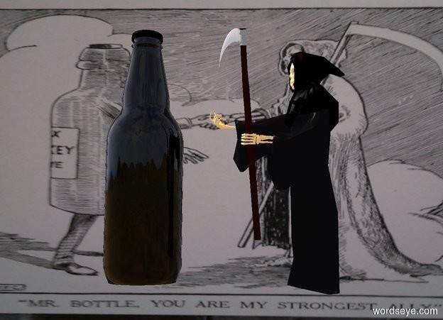 Input text: The 1 foot wide and 1.6 foot tall  cube is 1 foot wide image. camera light is black. ambient light is ghost white. a .3 foot tall grim reaper is .3 foot in front of and -1.3 foot above and -.5 foot right of the cube. it faces left. a .3 foot tall black bottle is left of the grim reaper. it faces southeast. a bordeaux wine mauve light is 1 foot above and in front of the cube.