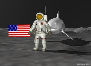 there is an astronaut. there is a flag two feet off the ground. the flag is next to the astronaut. there is a giant shark behind the astronaut. the shark is facing the astronaut. the shark is five feet away from the astronaut. the sky is black.