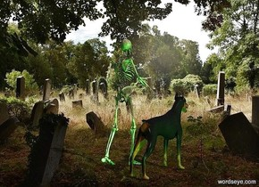 The image backdrop.a skeleton.a green light is 1 feet behind the skeleton.a dog is 6 inches left of the skeleton.a lime light is 1 feet left of the dog.camera light is black.