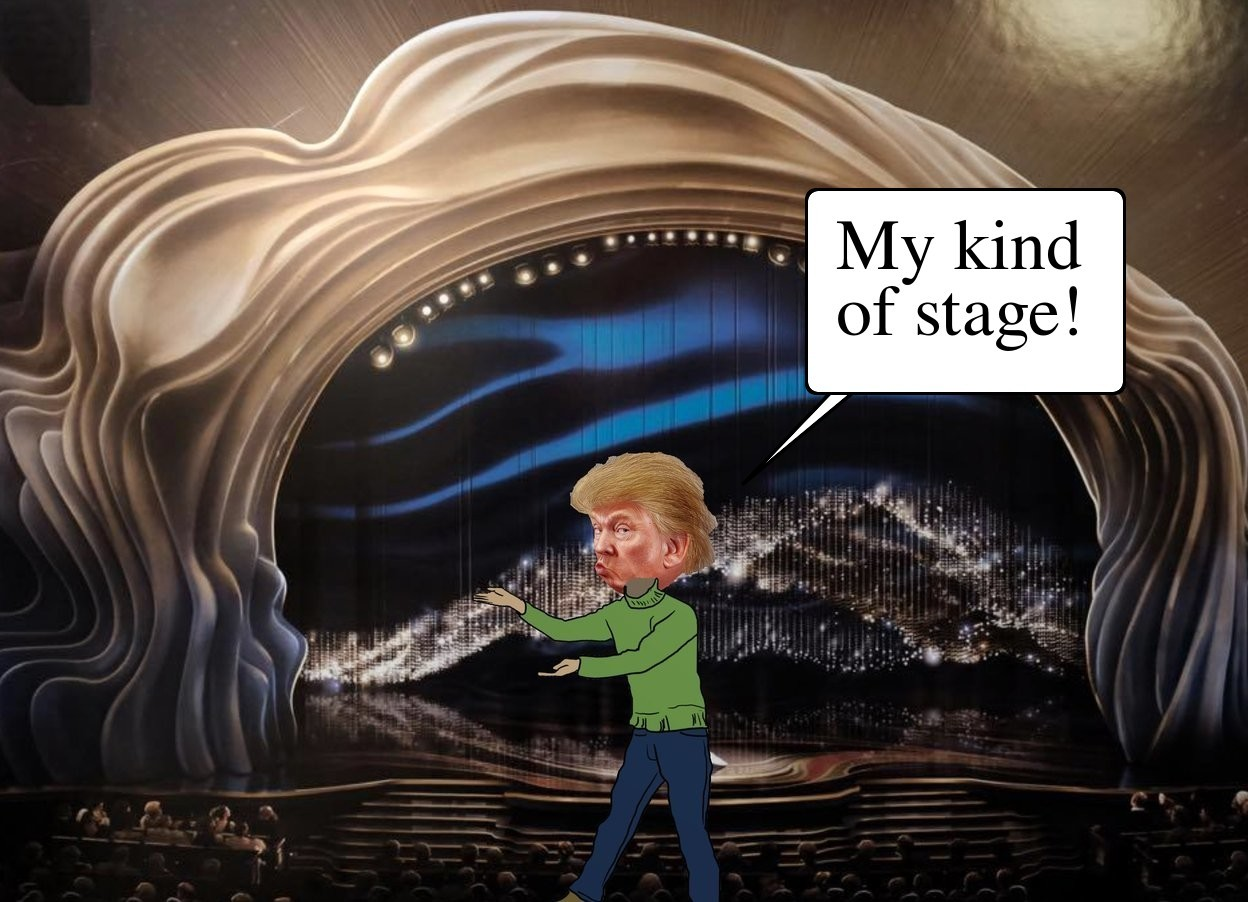 Input text: the [oscars] backdrop. trump is facing back.