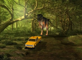 The dinosaur is behind the pickup truck with the forest backdrop.
