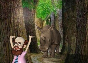 The  image  backdrop. A rhinoceros. The shadow plane. The small man is 4 feet in front of the rhinoceros.