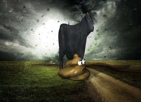 a fantasy backdrop. a cow is 30 feet tall and 4 feet wide. cow is 20 feet deep. the poop is under the cow. it is 12 feet tall.