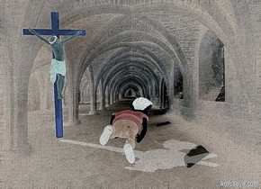 a shiny  [Church] backdrop.sun is delft blue.sky is delft blue.ground is invisible.ambient light is gold.a 7 inch tall shiny boy.the boy is facing north.the boy leans 80 degrees to the front.a 10 inch tall shiny yellow crucifix is 2 inch left of the boy.the crucifix is facing southeast.