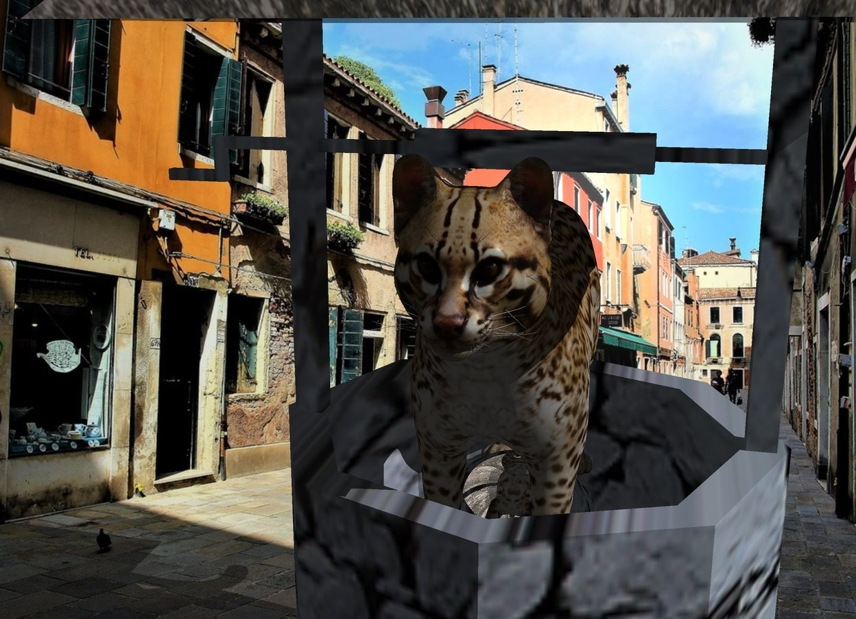 Input text: A [stone] well. The roof of the well is black and shiny. The sky is [slate]. City backdrop. Camera light is black. A cat is -4 feet above the well. It is facing north. A silver sphere is -3 feet above the cat.