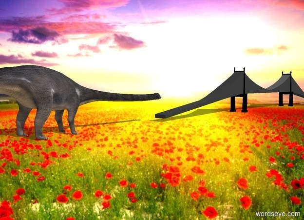 Input text: a dinosaur. a 150 foot wide bridge is in front of the dinosaur. it faces right. ambient light is gold. camera light is black. a big white light is 10 feet above the bridge.