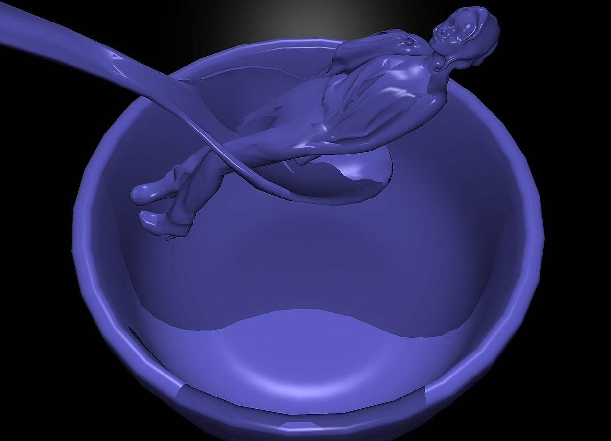 Input text: a 100 inch tall [ikb191] bowl.a black backdrop.ground is invisible.sky is black.a 1st 30 inch tall [ikb191] spoon is 2 inch above the bowl.the 1st spoon leans 40 degrees to back.the 1st spoon is -140 inch south of the bowl.a 160 inch tall [ikb191] woman is -10 inch above the bowl.the woman leans 60 degrees to back.