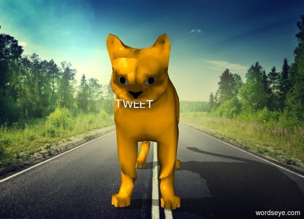 "Input text: The ""TWEET"" is -.5 inch in front and -4.7 inches above the orange cat. It is .5 inches tall."