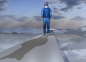 a 100 inch tall man.a 50 inch tall shiny blue cat is -48 inch above the man.the cat is -70 inch in front of the man.a 50 inch tall and 50 inch wide and 6500 inch deep gainsboro desk is -150 inch above the man.the desk is facing south.ground is 29 feet tall.ground is shiny.sun is baby blue.azimuth of the sun is 2 degrees.altitude of the sun is 23 degrees.a gray light is 10 inch in front of the cat.the gray light is -1 inch above the cat.a gray light is 22 inch left of the cat.