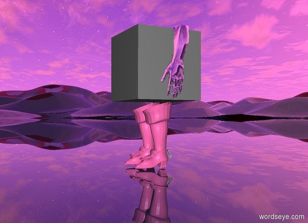 Input text: there is a 1st hot pink boot. a 2nd hot pink boot is next to the first boot. a gray cube is above the 1st boot. the ground is pink and clear. the sun is hot pink. a small silver hand is to the right of the cube.