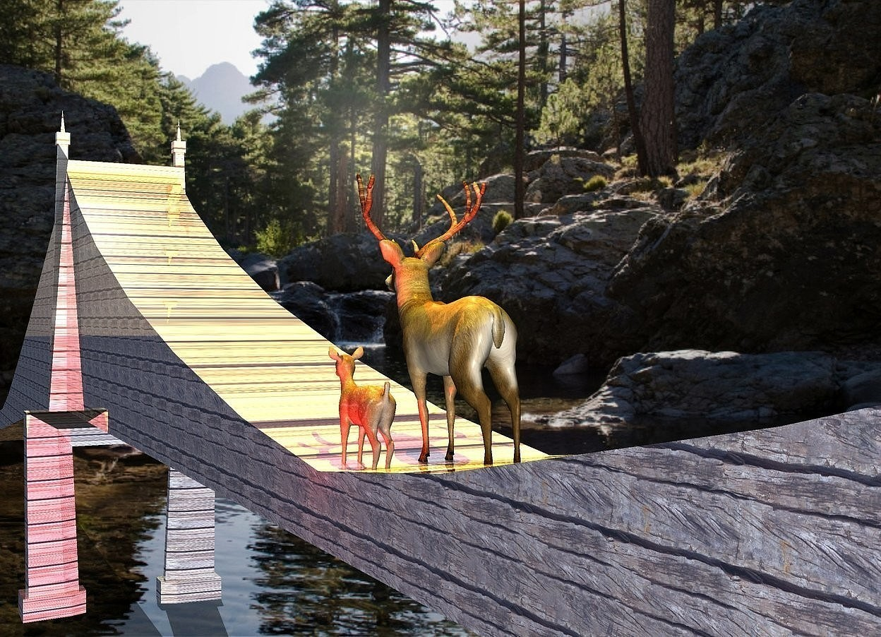 Input text: a shiny bridge.a animal is -13 feet above the bridge.it is facing left.a red light is 1 feet in front of the animal.a rust light is 6 inches left of the animal.it is above the animal.the bridge is wood.a yellow light is above the bridge.a small fawn is in front of the animal.it is facing left.
