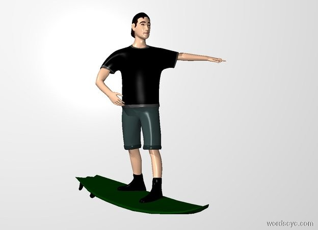 Input text: the boy is -6 inches above the surfboard. he is -18 inches right of the surfboard.  the white backdrop.