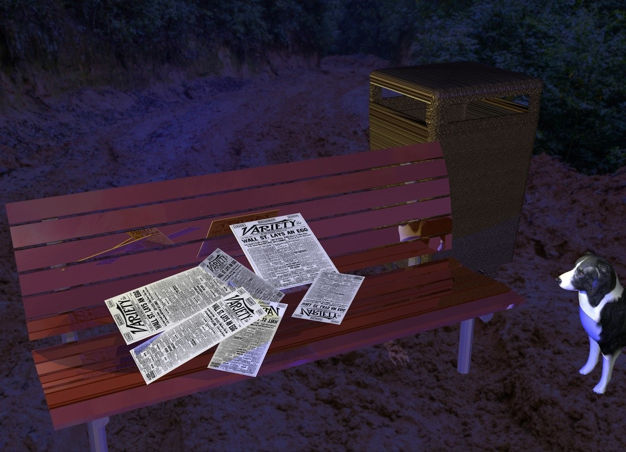 Input text: A small invisible man is on a dark shiny bench. A [newspaper] paper is on the man. It is leaning forward. A [newspaper] paper is left of and in front of and -2 inch above the paper. It is leaning 60 degrees to the back. It is facing southeast. A [newspaper] paper is -3 inch left of and -4 inch above the paper. It is facing east. It is leaning 10 degrees to the back. A 6 inch wide [newspaper] paper is in front of and -3 inch above the paper. It is leaning forward. It is facing west. A [newspaper] paper is -6 inch right of and -6 inch in front of the paper. It is facing northeast. It is leaning 70 degrees to the front. A [newspaper] paper is -1 inch right of and above the paper. It is facing southwest. It is leaning 95 degrees to the front. The sun is navy. A yellow light is above and left of and behind the bench. A blue light is in front of the bench. A [metal] trash can is right of and behind the bench. A small dog is right of and in front of the bench. It is facing the man.