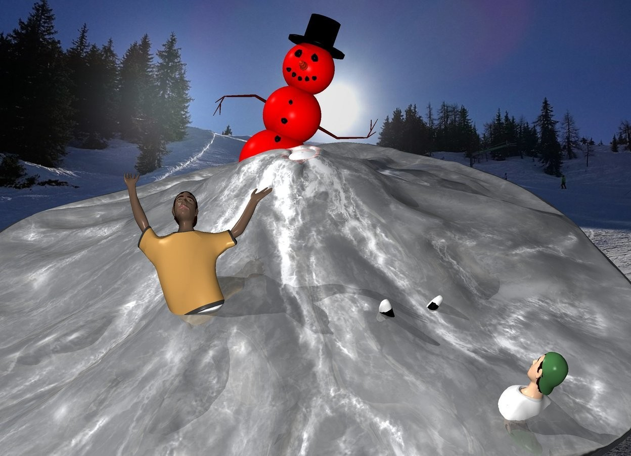 Input text: The red Snowman is 4 feet behind and -2 feet above the 1st child with the Winter backdrop. the snowman leans left. the 1st child leans 30 degrees to the northeast. 1st 2.5 feet tall and 15 feet wide and 20 feet deep snow mountain is -6 feet above and -8 feet behind the 1st child.it leans to the front. 2nd 2 feet tall and 17 feet wide and 26 feet deep snow mountain is -3 feet behind the 1st snow mountain. 2nd 2.5 feet tall child is  right of and -2.8 feet in front of and -6 feet above the 1st child. the  2nd child leans 55 degrees to the back.the 2nd child faces northwest