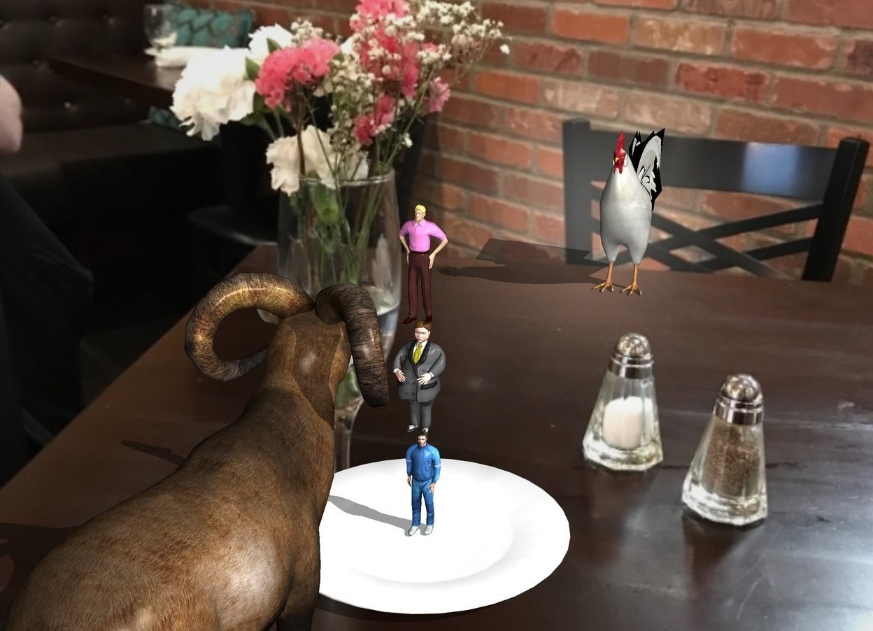 Input text: The  image  backdrop. The sheep is 13 foot behind the very large chicken. The chicken is facing the sheep. The shadow plane. The huge plate is in front of the sheep. The  tiny man is on the plate. He is facing back. A second tiny man is on the man. A third tiny man is on the second man.