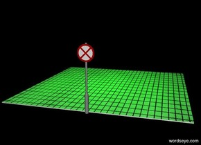 a floor is 20 foot wide [grid]. a sign is in front of the floor. it is night. a lime light is 10 feet above the floor. black backdrop.