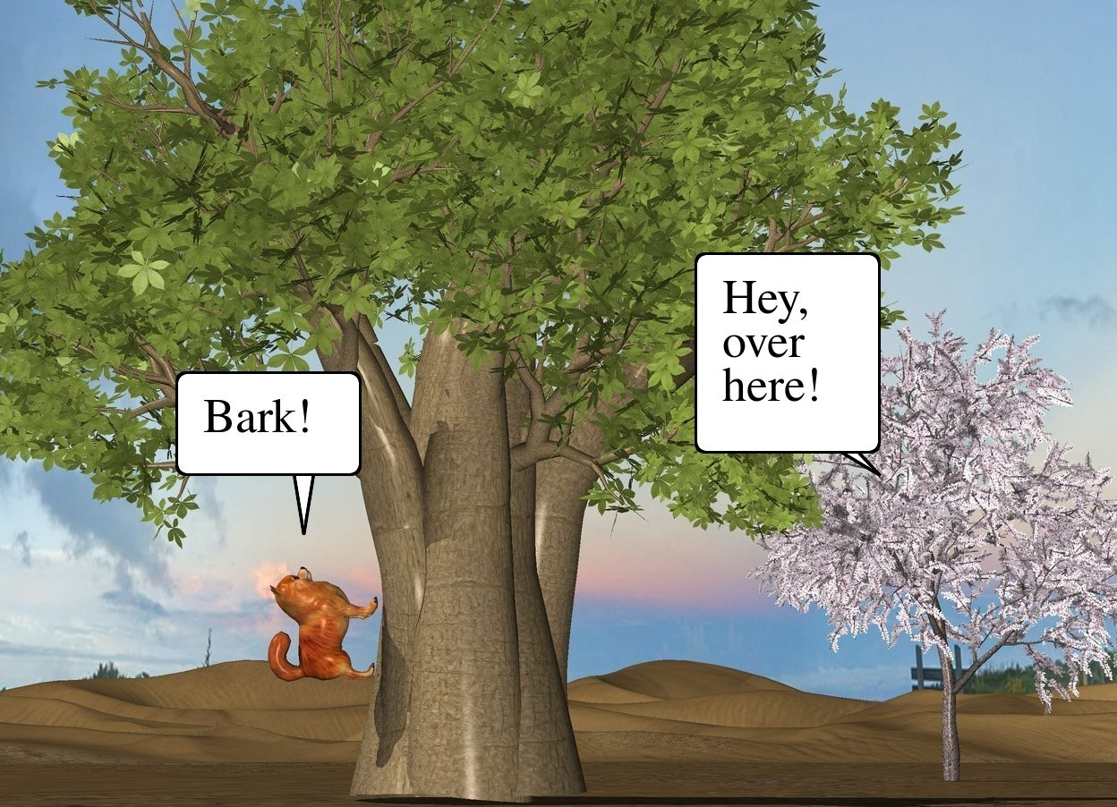 Input text: The second small tree is in front and to the left of the first tree. The large dog is -8.5 feet to the left of the second tree. It is facing right. It is leaning 90 degrees to the back. It is 2 feet above the ground.