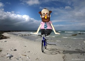 The beach backdrop. A man is sitting on a bicycle.