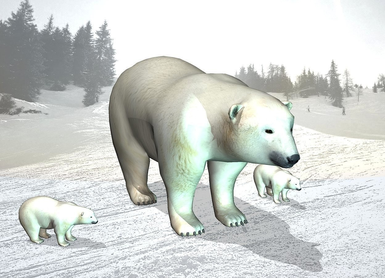 Input text: snow backdrop.a 1st bear.a 2nd tiny bear is 1 feet left of the 1st bear.it is facing southeast.pale shadow plane.the sun's altitude is 75 degrees.a 3rd tiny bear is 1 feet right of the 1st bear.a 40% aqua light is 3 feet in front of the 1st bear.