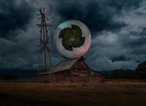 Cabin backdrop. A [turbine] sphere. A cyan light is right of and behind the sphere. An extremely tiny silver windmill is right of the sphere. It is leaning 90 degrees to the back. The sky is black. A scarlet light is left of and in front of the sphere.