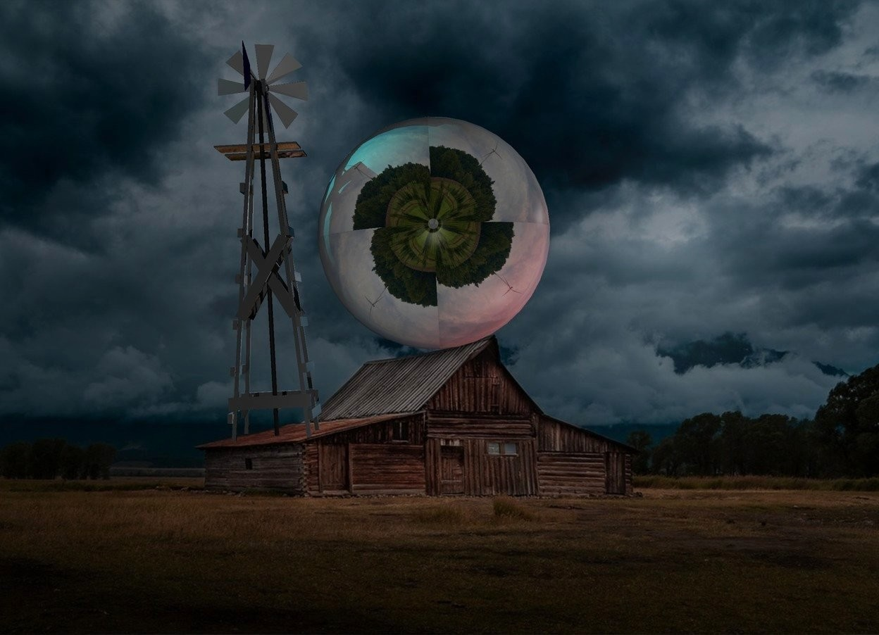Input text: Cabin backdrop. A [turbine] sphere. A cyan light is right of and behind the sphere. An extremely tiny silver windmill is right of the sphere. It is leaning 90 degrees to the back. The sky is black. A scarlet light is left of and in front of the sphere.