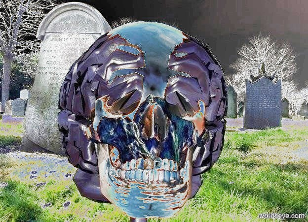 Input text:  a skull. cemetery backdrop.  a ghost white light is -.5 foot above and 1 foot in front of the skull. sky.