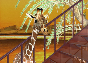 10 foot tall invisible window faces right. it is -.1 foot in front of and -.1 foot left of  7 foot tall invisible cube. a 10 foot tall shiny staircase is in front of the cube. backdrop is [desert].  a 8 foot tall giraffe faces right. it is -1.9 foot  right of the window. sun is black. ambient light is silver. a shiny forest green date palm is behind and left of the giraffe. it faces back. a gold light is above and right of the giraffe.