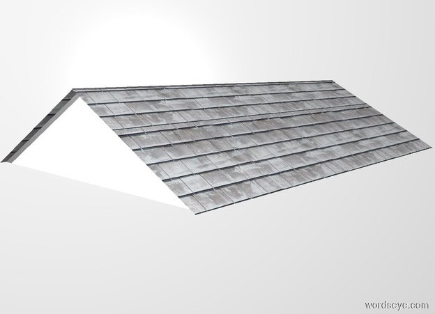 Input text: a white backdrop. 1st 8.06 feet tall flat shingle wall leans 61 degrees to the back. 2nd 8.06 feet tall flat shingle wall is -14 feet in front of the 1st wall. it leans 61 degrees to the front. 1st flat 14 feet wide and  3.8 feet tall pyramid is -4 inch right of and -14 feet in front of the 1st wall. it faces right. 2nd flat 14 feet wide and 3.8 feet tall pyramid is -4 inch left of and -14 feet in front of the 1st wall. it faces left.