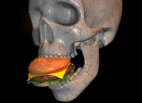 a 100 inch tall  gray skull.a 15 inch tall burger is -90 inch above the skull.the burger is -26 inch in front of the skull.the burger leans 20 degrees to the front.the skull is 5 inch wide [dirt].a black backdrop.sun is old gold.a 2000 inch tall old gold illuminator is right of the skull.