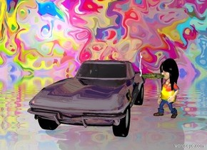 The image backdrop.a shiny black car.a boy is right of the car.pale shadow plane.he is facing southwest.fantasy sky.