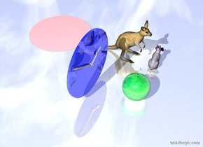 the very large lavender rabbit is several inches in front of the large orange kangaroo. rabbit is facing right. the very large pink puddle is 2 feet behind the kangaroo. the enormous shiny blue clock is 3 feet left  of the kangaroo. the ground is shiny. the huge shiny green sphere is 4 feet to the left of the rabbit.