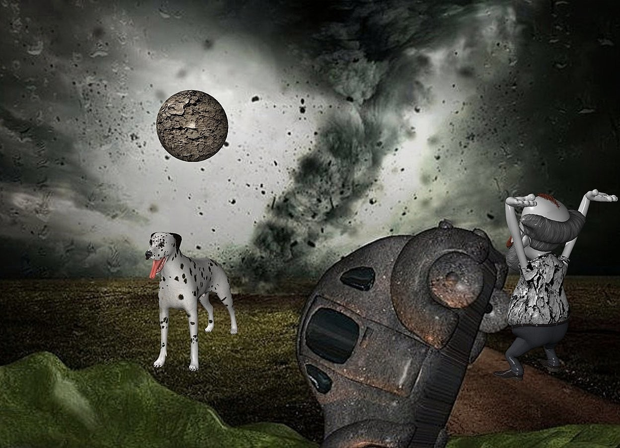 Input text: a [BD] backdrop.a 1 inch tall  [dirt] moon.a 2 inch tall dalmatian is -4 inch above the moon.a 2.5 inch tall 70% dim gray man is 3.5 inch right of the dalmatian.the man is facing northwest.the shirt of the man is  gray.the beard of the man is gray.the shirt of the man is [dirt].