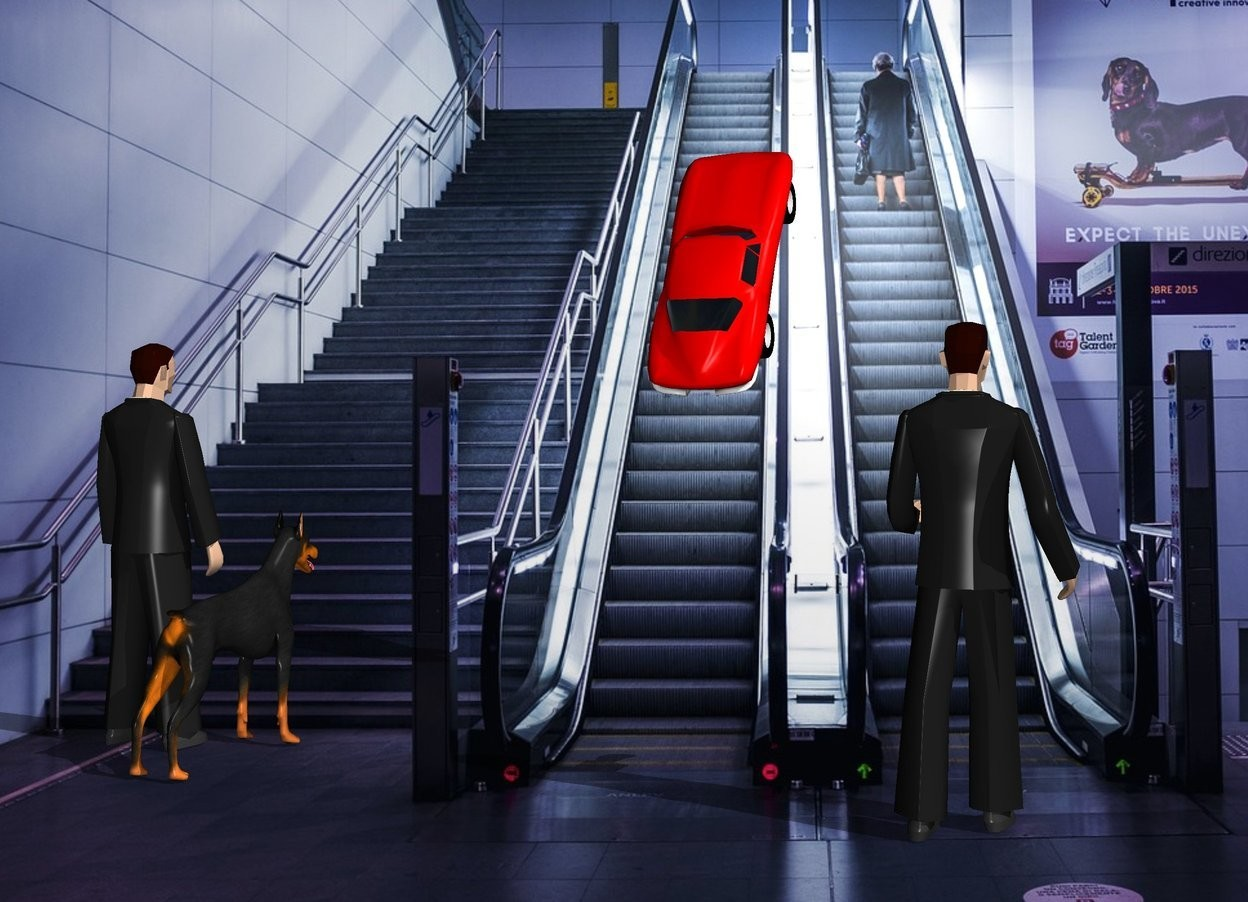Input text: stair backdrop.a 1st man.a 2nd man is 10 feet right of the 1st man.a dog is left of the 2nd man. the car is 4 feet to the left and 6 feet in front of the 2nd man. it is -1 feet above the second man. it is leaning 60 degrees to the back. the car is 1.6 feet tall.
