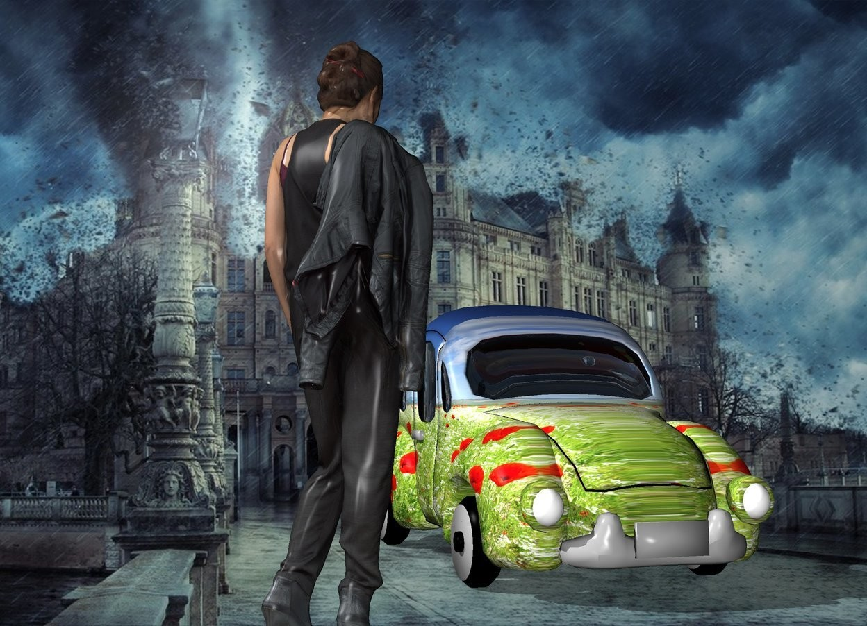 Input text: a fantasy backdrop. a [flower] car. the tall woman is in front and a couple of feet left of the car. she is facing the car.