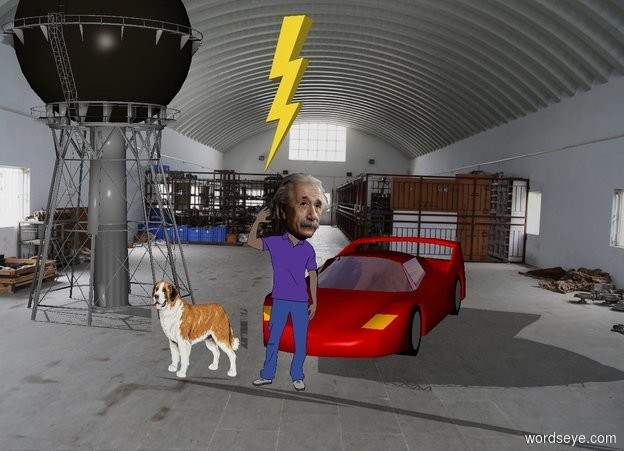 Input text: the scientist is 2 feet in front of the race car.  the 20 foot tall tower is 5 feet left of the car.  the large lightning bolt is above the scientist.  A small dog is left of and in front of the scientist.