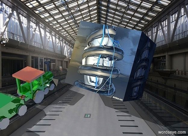 Input text: a 150 inch tall delft blue  [Spring] cube..a 80 inch tall shiny train is -20 inch left of the cube.the train is facing northeast.the cube is facing southeast.the cube leans 30 degrees to west.a 1000 inch tall  orange illuminator.