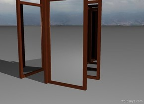 The first mirror is facing west. The first mirror is four feet to the right of second mirror. The second mirror is facing east.  The third mirror is facing north. The third mirror is four feet in front of the fourth mirror. The fourth mirror is facing south.  first mirror is very big. second mirror is very big. third mirror is very big. fourth mirror is very big.