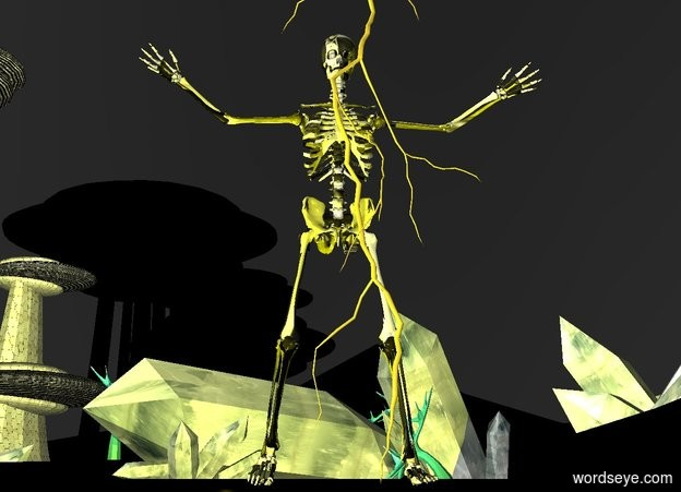 Input text: a yellow crystal skeleton is on the ground. the sky is black. a yellow light is in front of the skeleton. a giant lightning is in front of the skeleton. the ground is black