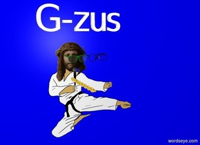 """Jesus Christ. Microphone is next to Jesus. Microphone is -2.3 feet above Jesus. Microphone is -1.5 feet to the left of Jesus. Microphone is 6 inches ahead of Jesus. A gold chain is in front of Jesus's head. Shiny white """"G-zus"""" is 0.5 foot above Jesus and 1.6 foot to back.  big sunglasses -1 foot above Jesus. Backdrop is blue."""