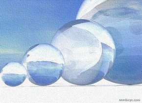 a clear  sphere. a big clear sphere is behind the sphere. a very big clear sphere is behind the sphere. a enormous clear  sphere is behind the sphere.  sky. it is noon. ground is shiny white.