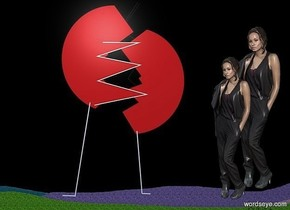 a [dg] backdrop.a 1st 50 inch tall woman.a 2nd 60 inch tall woman is behind the 1st woman.