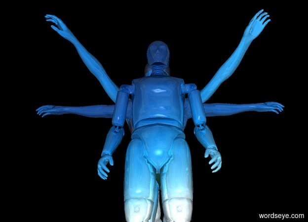 Input text: black backdrop. black sun.  a 1st 60 foot tall shiny [sky] humanoid. a 2nd 60 foot tall shiny [sky] humanoid is behind the humanoid. a 3rd 60 foot tall shiny [sky] humanoid is behind and -30 feet above the 2nd humanoid.