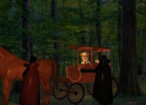 a [brown] carriage. a professor is -12 feet in front of and -6 feet above and -5 feet left of the carriage. it faces southeast. its hair is white. its mustache is white. its beard is white. its shirt is white. its necktie is black. a 10 foot tall vampire is 1 foot right of and -8 feet in front of the carriage. the vampire faces the professor. sun is black. a large horse is in front of the carriage. a 9 foot tall man is right of the horse. he faces the horse. his cape is brown. his hand is black. a black hat is -.5 foot above and -1.5 foot right of the man. camera light is old gold. a gold light is 2 feet in front of and -1 foot above the professor. shadow plane is invisible.