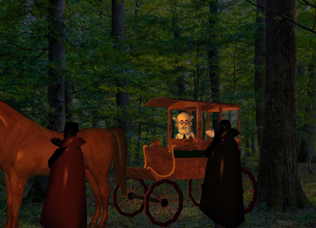 Input text: a [brown] carriage. a professor is -12 feet in front of and -6 feet above and -5 feet left of the carriage. it faces southeast. its hair is white. its mustache is white. its beard is white. its shirt is white. its necktie is black. a 10 foot tall vampire is 1 foot right of and -8 feet in front of the carriage. the vampire faces the professor. sun is black. a large horse is in front of the carriage. a 9 foot tall man is right of the horse. he faces the horse. his cape is brown. his hand is black. a black hat is -.5 foot above and -1.5 foot right of the man. camera light is old gold. a gold light is 2 feet in front of and -1 foot above the professor. shadow plane is invisible.